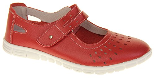 Footwear Studio Womens Summer Fruits by Coolers Leather Summer Mary Jane Flats Shoes Sandals Red qXlZOA