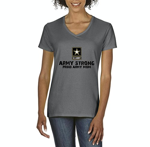 Xekia U.S. Army Star Army Strong Proud Army Mom Fashion People Couples Best Friend Gifts Women's V-Neck T-Shirt Tee Clothes Small Charcoal (Idol Ladies T-shirt)
