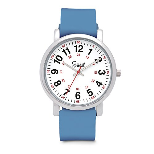 (Speidel Scrub Watch for Medical Professionals with Blue Silicone Rubber Band - Easy to Read Timepiece with Red Second Hand, Military Time for Nurses, Doctors, Surgeons, EMT Workers, Students and More)