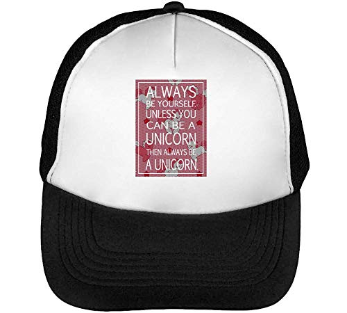 Always Be Yourself Unless You Can Be A Unicorn Gorras Hombre Snapback Beisbol Negro Blanco