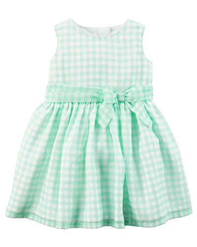Carter's Girls' 2T-8 Gingham Dress - Gingham Green Dress