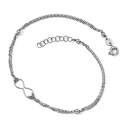 Black Bow Jewelry Sterling Silver D/C Infinity Station Double Strand Anklet, 9-9.75 Inch save more