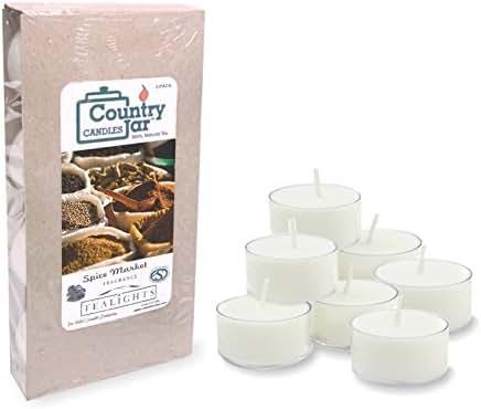 Country Jar Spice Market Tea Light Candles, (8-Pack/.75 oz. ea.) 100% Natural Soy (3 OR More Sale!)