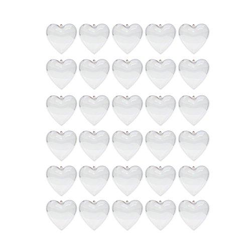 Saim 80mm Clear Plastic Acrylic Heart Shape Fillable Balls Christmas Tree Ornaments DIY Bath Bomb Molds Pack of 30 -