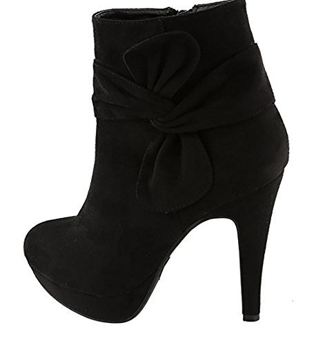 Women's High-Heels Frosted Low-top Solid Zipper Boots with Bows