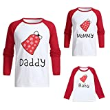 Seaintheson Family Matching Christmas Pajamas Tops, Xmas Bell Letter Print Pullover Long Sleeve Tops Sleepwear Clothes