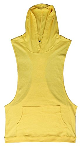 Panegy Men's Hooded Tank Top Pure Color Sleeveless Workout Fitness Pullover T-shirt