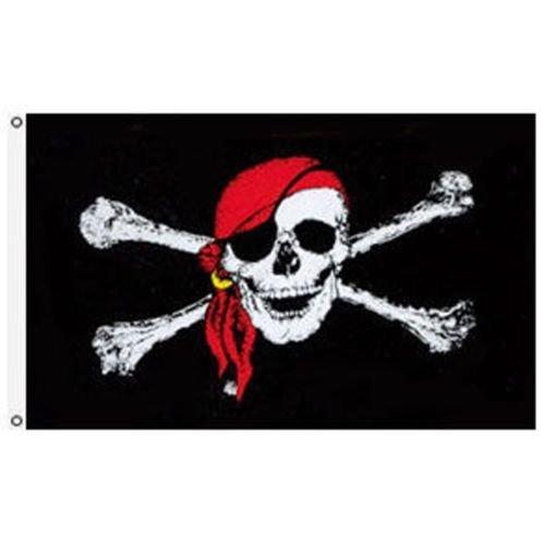 Moon 4x6 Jolly Roger Pirate Red Bandann Skull Crossbones Flag 4x6 Banner USA SELLER - Vivid Color and UV Fade Resistant - Prime Outside Garden Home Decor (Jolly Roger Flag 4x6)