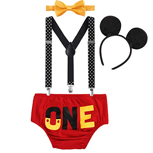 FYMNSI Baby Boys 1st Birthday Cake Smash Mickey Costume Photo Props 4PCS Outfits Suspender Bloomers Bowtie Headband Red 12-18 Months]()