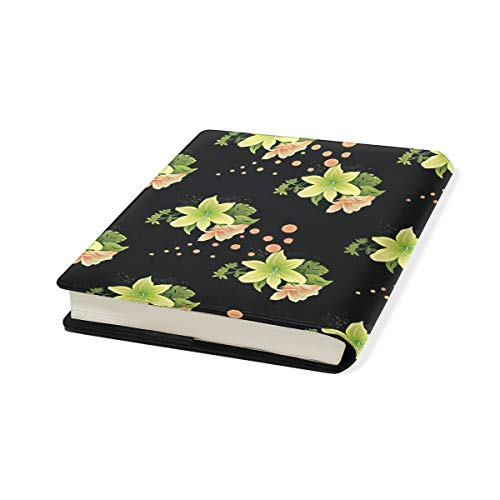 Flower Stretchable Leather Book Covers Standard Size for Student Hardcover Textbooks Fits up to 9x11-Inch for School Girls Boys Gift by FeiHuang