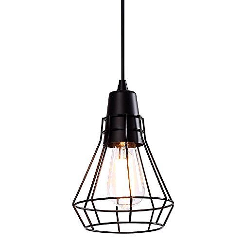 Wire Deco Art - Hanging Pendant Lighting Fixtures Industrial Edison Vintage Style Polygon Wire Pendant Light Art Deco For Kitchen Living Dinning Room Restaurant Bar Black Finish Metal Shade Black Cord