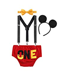 Baby Boy Cake Smash ONE Diaper Suspenders Bowtie Headband Birthday Party