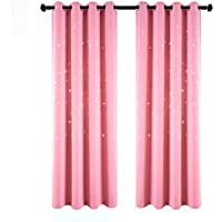 BUZIO 2 Panels Twinkle Star Kids Room Curtains with 2...
