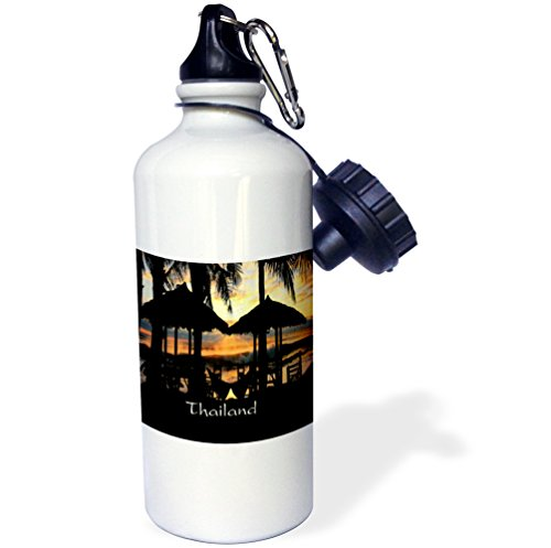 3dRose Florene Worlds Exotic Spots - Image of Tiki Huts Palms And Sunset In Thailand - 21 oz Sports Water Bottle - Huts Thailand