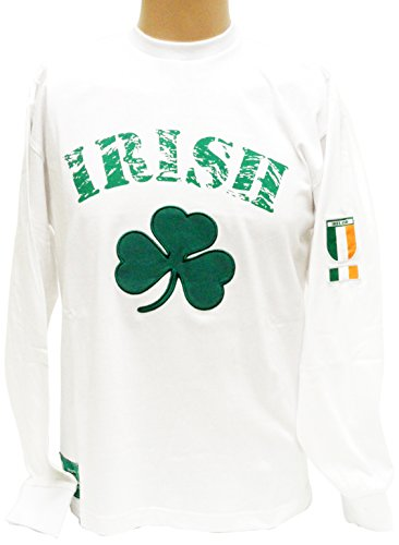 Ireland White Long Sleeve T-Shirt, - Bay Socks Ireland White Donegal