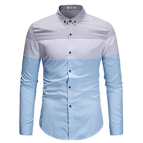 Dream_mimi Men's Autumn Fashion Long Sleeve Paneled Shirt Leisure Lapel Top(Blue,L)