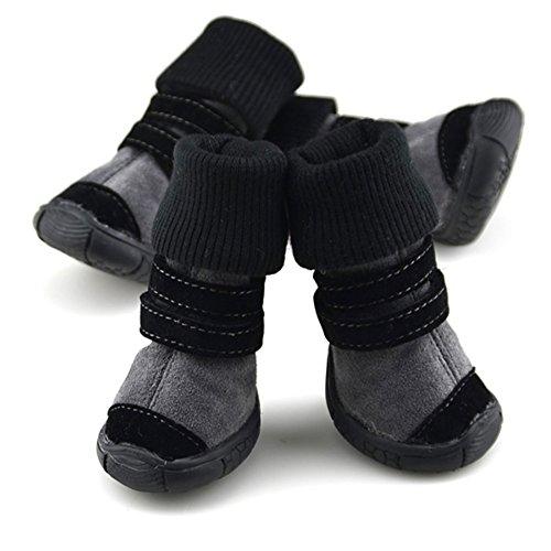 4pcs Pet Boots Socks Medium Dog Waterproof Rain Shoes Non-slip Rubber Puppy (Black) (M) - 6