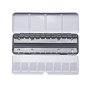 MEEDEN Empty Metal Watercolor Tins Palette Paint Case Box - Will Hold 24 Half Pans or 12 Full Pans