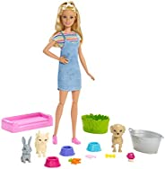 Barbie Play 'n Wash Pets Playset with Blonde Doll, 3 Color-Change Animals (a Puppy, Kitten and Bunny) and