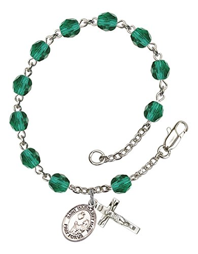 December Birthstone Rosary Bracelet (December Birth Month Bead Rosary Bracelet with Saint Margaret Mary Alacoque Petite Charm, 7 1/2 Inch)