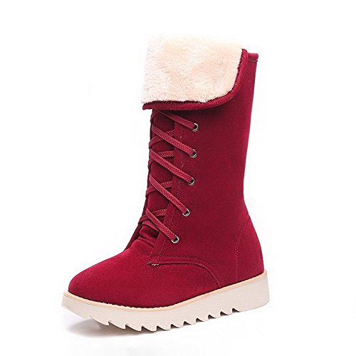 Solid Low top Mid Boots Red AgooLar Women's Heels up Lace Frosted xFwXWY5Snq