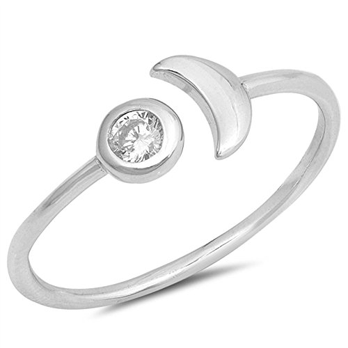 Clear Bezel Set Cubic Zirconia Half Moon Ring Sterling Silver Size (Half Bezel Set)