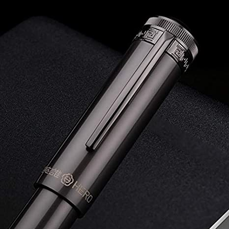 Hero H718 Pluma estilogr/áfica retr/áctil con pist/ón giratorio punta media de oro de 10 K color gris con caja de regalo