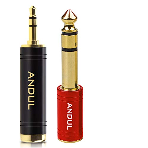 ANDUL 1/4 inch to 3.5mm and 3.5mm(1/8'') Plug Male to 6.35mm (1/4'') Jack Female Stereo Pure Copper Headphone Adapter for Amp Guitar,Piano,etc (Black+Red)