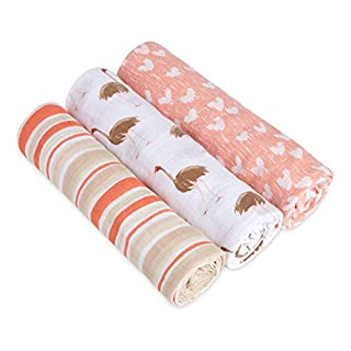 aden + anais White Label Swaddle Baby Blanket, 100% Cotton Muslin, Large 47 x 47, 3 Pack, Flora
