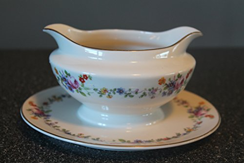 Daisy Gravy Boat - Antique Warwick West Virginia USA #AB9474 Gravy Boat with attached Underplate -Wild Roses & Daisies -1887 to 1951
