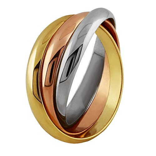 14k Tri Color Band Ring - UCTUK 14K Solid Gold Tricolor Rolling Ring - 3B3C (8)