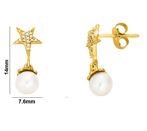 Libertini Boucle d'oreille argent 925 plaque or Jaune serti de Diamant et Per...