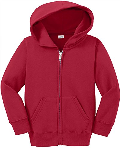 Joe's USA Infant Full Zip Hoodies - Soft and Cozy Hooded Sweatshirts, Red, 18M