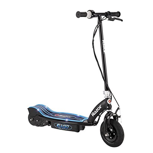 Razor E100 Glow Black Electric Scooter with 8-inch pneumatic front tire (Razor E Glow Electric Scooter)