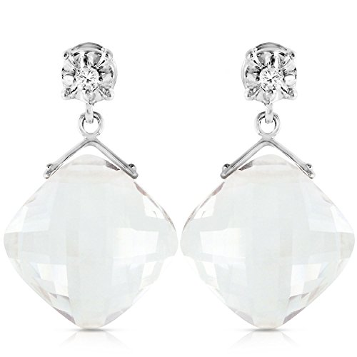 ALARRI 17.56 Carat 14K Solid White Gold Dancing Angels White Topaz Earrings by ALARRI