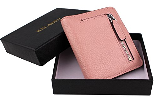 Women's RFID Blocking Small Genuine Leather Wallet Ladies Mini Card Case Purse (Pink) by KELADEY (Image #6)