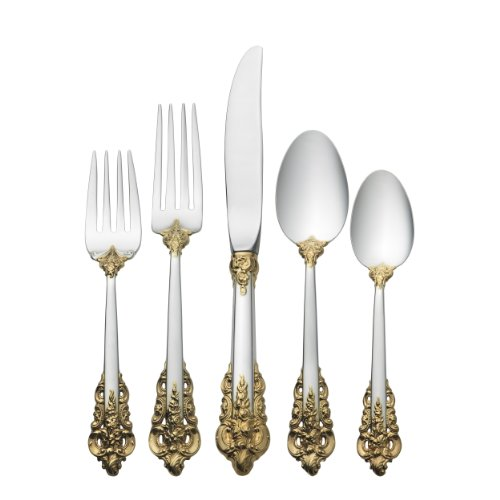 - Wallace Grande Baroque Gold Accent 5-Piece Place Setting