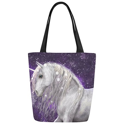 InterestPrint Beautiful Unicorn Canvas Tote Bag Shoulder Handbag for Women Girls by InterestPrint