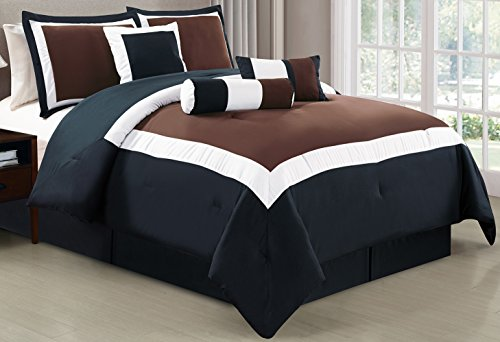 5 Piece Oversize BROWN / BLACK / WHITE Color Block Comforter