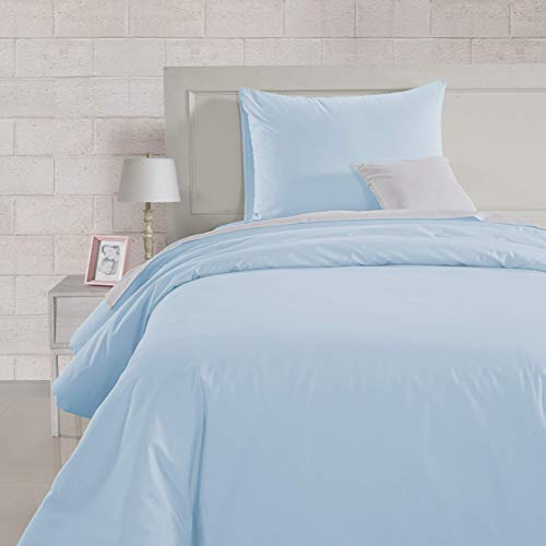 AmazonBasics Lightweight Percale Cotton Duvet Comforter Cover Set, Twin / Twin XL, Blue Pastel