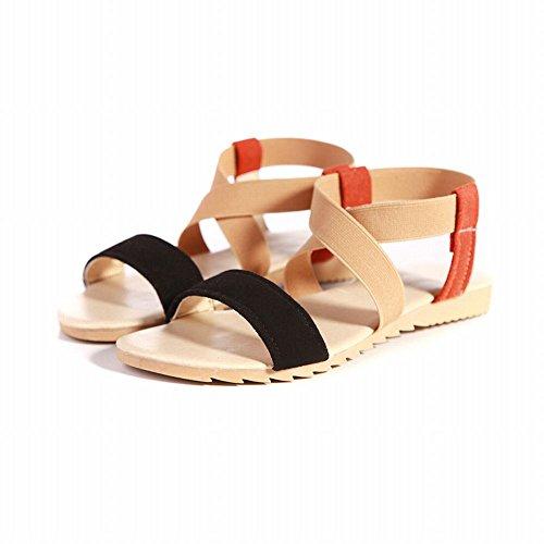 Carol Chaussures Femmes Mode Casual Confort Été Couleurs Assorties Appartements Sandales Noir