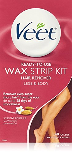 Ready To Use Wax Strips Leg & Body 40 Full Size Wax Strips & 6 Finishing Wipes (Packaging may vary)