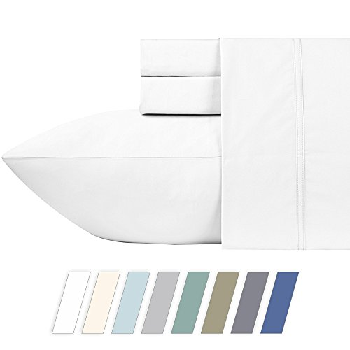 600 Thread Count Best Bed Sheets 100% Cotton Sheets Set - Pure White Long-staple Cotton Queen Sheet For Bed, Fits Mattress Upto 18'' Deep Pocket, Soft & Silky Sateen Weave Sheets and Pillowcases - Exclusive Cotton Satin