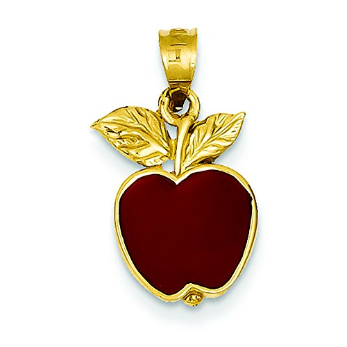 Pendants Career and Profession Charms 14K Yellow Gold Red Enameled Apple Charm Pendant (Yellow Gold Enameled Apple)