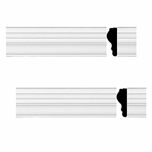2 Chair Rails White Urethane Foam Molding 97 In. X 1 3/4 In. | Renovator's (Chair Railing Moulding)