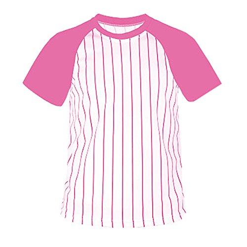 myglory77mall Crewneck Pinstripe Baseball Raglan Coolmax Dryfit tshirts Jersey US 2XL(3XL tag) Pink