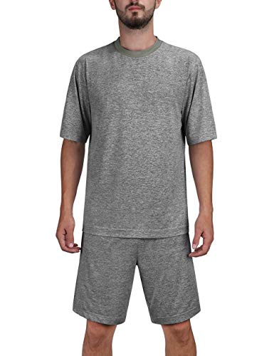 DISHANG Men's Short Sleeves and Shorts Pajamas Set Soft Lightweight and Stretch Lounge Sport Sleepwear (Dark Grey, XXL)