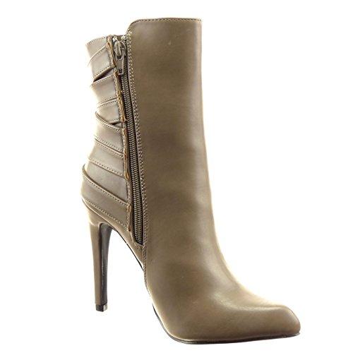 Sopily - Zapatillas de Moda Botines stiletto Tobillo mujer tanga Hebilla Talón Tacón de aguja alto 11 CM - Taupe