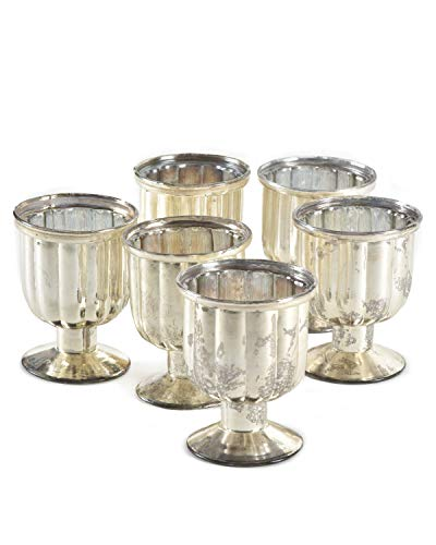 Serene Spaces Living Antiqued Mercury Glass Pedestal Votive, Set of 6 (Glass Mercury Candle Holders Pedestal)