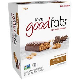 LOVE GOOD FATS Peanut Butter Chocolatey Snack Bar 12Ct, 1.38 OZ